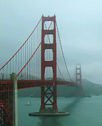 Sausalito Photos - Golden Gate Bridge and Partial Arch in Color  by Connie Fox