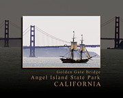 Sausalito Metal Prints - Golden Gate Bridge Angel Island State Park View San Francisco Bay California Metal Print by David Rigg