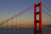 Summer Digital Art Metal Prints - Golden Gate Bridge at Sunset Metal Print by Melanie Viola