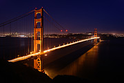 Sausalito Metal Prints - Golden Gate Bridge at Twilight Metal Print by Daniel Woodrum