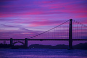 Red Sunsets Framed Prints - Golden Gate Bridge At Twilight Framed Print by Garry Gay