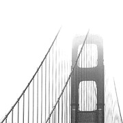 Monochromatic Digital Art Posters - Golden Gate Bridge Poster by Ben and Raisa Gertsberg