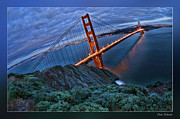 Blake Richards Framed Prints - Golden Gate Bridge Blue Clouds Framed Print by Blake Richards