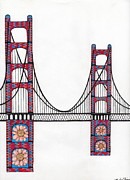 Golden Gate Drawings Posters - Golden Gate Bridge by Flower Child Poster by Michael Friend