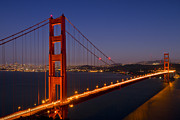 Illuminated Framed Prints - Golden Gate Bridge by Night Framed Print by Melanie Viola