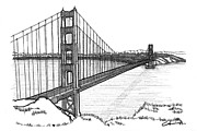 San Francisco Bay Drawings Prints - Golden Gate Bridge Print by Calvin Durham
