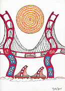 San Francisco Bay Drawings Prints - Golden Gate Bridge Dancing in the Wind Print by Michael Friend
