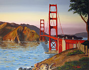 Famous Bridge Originals - Golden Gate Bridge by Dottie Kinn
