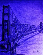 San Francisco Pastels Metal Prints - Golden Gate Bridge In Blue Metal Print by Irving Starr