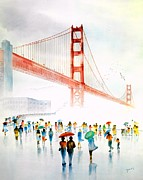 Gate Paintings - Golden Gate Bridge by John Yato