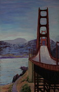 Golden Gate Pastels Posters - Golden Gate Bridge Poster by Marion Derrett