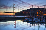 Sausalito Metal Prints - Golden Gate Bridge Reflection Metal Print by Terry Scussel