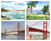 San Francisco Bay Painting Framed Prints - Golden Gate Bridge San Francisco California Framed Print by Irina Sztukowski