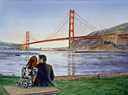 Watercolor By Irina Prints - Golden Gate Bridge San Francisco - Two Love Birds Print by Irina Sztukowski