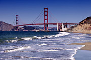 Sightseeing Digital Art Posters - Golden Gate Bridge - Seen from Baker Beach Poster by Melanie Viola