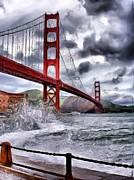 Storm Clouds Pyrography Posters - Golden Gate Bridge Stormy Weather  Poster by Russ Considine