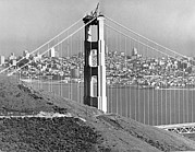 Golden Gate National Recreation Area Photos - Golden Gate Bridge Tower by Underwood Archives