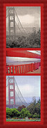 Bay Bridge Mixed Media Metal Prints - Golden Gate Bridge Triptych Metal Print by Steve Ohlsen