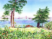Famous Watercolor Framed Prints - Golden Gate Bridge View From Lincoln Park San Francisco Framed Print by Irina Sztukowski