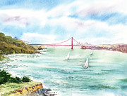 Sausalito Painting Posters - Golden Gate Bridge View From Point Bonita Poster by Irina Sztukowski