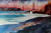 San Francisco Paintings - Golden Gate Bridge Waves by M Bleichner