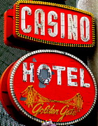 Fremont Street Framed Prints - Golden Gate Casino Hotel Framed Print by Randall Weidner