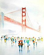 Awesome Painting Posters - Golden Gate Celebration Poster by John YATO