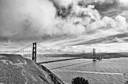 Jamie Pham - Golden Gate Drama - Golden Gate Bridge in San Francisco California Black and White