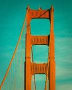 Fran Framed Prints - Golden Gate in Turquoise Framed Print by Sonja Quintero