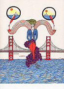 Golden Gate Drawings Posters - Golden Gate Lady and Wine Poster by Michael Friend