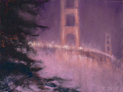 San Francisco Pastels Metal Prints - Golden Gate Nocturne Metal Print by Rebekah Sisk