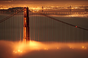 Chrome Photo Framed Prints - Golden Gate on Fire Framed Print by Francesco Emanuele Carucci