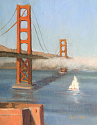 Lori Quarton Art - Golden Gate-sailing Away by Lori Quarton