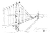 Suspension Drawings - Golden Gate Study by Calvin Durham