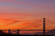 Kate Brown Framed Prints - Golden Gate Sunset Framed Print by Kate Brown
