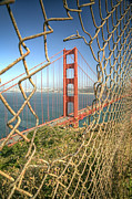San Francisco Golden Gate Bridge Framed Prints - Golden Gate through the fence Framed Print by Scott Norris