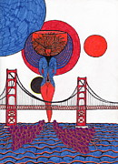Golden Gate Drawings Posters - Golden Gate Wine Diva-Goddess Poster by Michael Friend