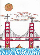San Francisco Bay Drawings Prints - Golden Gate with wind power Print by Michael Friend