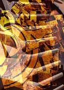 Gears Mixed Media Prints - Golden Gears Abstract Print by Carol Groenen