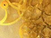 Golden Gears Background Print by Tomislav Zivkovic