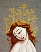 Icon Painting Prints - Golden Girl Print by Rebecca Mott