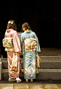 Kimonos Photos - Golden glow - Japanese women wearing beautiful kimono by David Hill