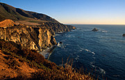 Big Sur California Photos - Golden Glow on Big Sur by Kathy Yates