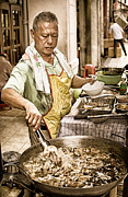 Stir Fry Posters - Golden Glow - South East Asian Street Vendor Cooking Food at his Stall Poster by David Hill