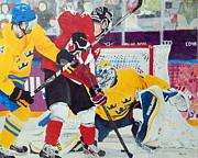 Golden Goal In Sochi Print by Betty-Anne McDonald