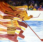 Hockey Painting Metal Prints - Golden Gophers Metal Print by Yack Hockey Art