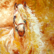 Original Oil Painting Prints - Golden Grace Equine Abstract Print by Marcia Baldwin