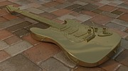 Solid Prints - Golden Guitar Print by James Barnes