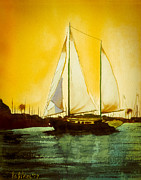 Sailboat Ocean Mixed Media Posters - Golden Harbor  Poster by Kip DeVore