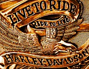 Sculptural Posters - Golden Harley Davidson Logo Poster by Chris Berry